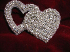 SILVER RHINESTONE DOUBLE HEART BEADED APPLIQUE 2546-U2