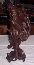 LARGE OLD CHINESE HAND CARVED ROSEWOOD MAN WITH INLAID EYES & MOUTH HEIGHT 14""