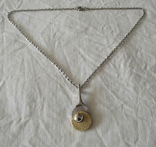 Beautiful Costume Tennis Racket & Ball Necklace Signed TL