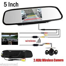 "Wireless IR Night Vision Rear View Back up Camera Kit +5"" Car Monitor Mirror"