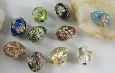 10 Mixed Color Cloisonne Enamel Ribbed Oval Beads E1972