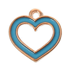 6 PCs Charm Pendants Heart Rose Gold Enamel Lightblue 14mmx13mm LC4903