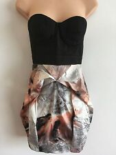 Lipsy Black, Grey Pastel Coloured Strapless Mini Dress Size 8