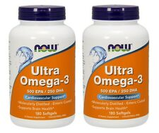 Now Foods Ultra Omega-3 Fish Oil, 500 EPA / 200 DHA, 180 Softgels, 2 pack
