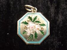 Sterling Silver and Enamel Charm  by T L MOTT  Christmas Rose and Holly