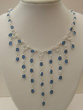 925 Sterling Silver Waterfall Necklace With Natural Blue Chalcedony  (nk1436)
