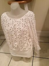 ANNE FONTAINE France WHITE COTTON LACE SHIRT  BLOUSE TOP 44