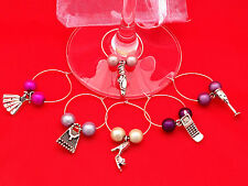 "Set of 6 Handmade "" Girl's Favourites "" Wine Glass Charms - FREE P&P"