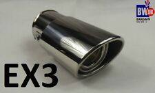 STEEL EXHAUST TRIM TIP MUFFLER CHROME TAIL CAR 60MM UNIVERSAL BEST QUALITY -EX3
