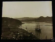 Glass Magic Lantern Slide CONWY HARBOUR FROM CASTLE C1910 WALES  RIGGED SHIP