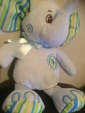 "Cuddles Collection Blue green striped elephant 10"" Soft Plush Toy Card Factory"