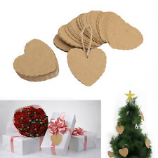 Lots 100Pcs Heart Kraft Paper Wedding Xmas Gift Cards Label Blank Luggage Tags