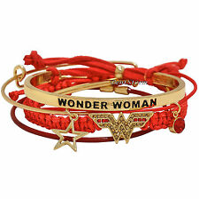 DC Comics Wonder Woman Logo 5PK Bracelet Set Arm Candy Party Cord & Beads NEW