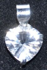 925 Sterling SILVER Pendant Solitaire Heart White Quartz Rock Gemstone Jewellery