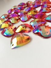 NEW! 30 pcs x Sew On 15 mm Acrylic Rhinestones Red AB Color Heart Shape