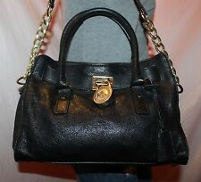 MICHAEL KORS Black Medium Leather Shoulder Hobo Tote Satchel Slouch Purse Bag