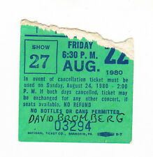 DAVID BROMBERG TICKET STUB DR PEPPER CENTRAL PARK MUSIC FESTIVAL 8/22/80