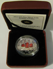 2013 Proof $10 Holiday Candles Canada .9999 silver red enamel ten dollars