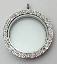 Glass Locket Silver with Double Row Crystals Magnetic Top Extra Large 39mm