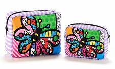 ✿ ROMERO BRITTO ✿ SET OF 2 COSMETIC BAGS: BUTTERFLY ** NEW **