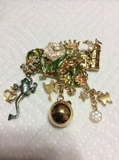 KIRKS FOLLY FROG PRINCE ENAMEL & GOLD TONE FIGURAL PIN BROOCH W/ DANGLING CHARMS