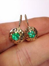 14K Yellow Gold Natural Colombian Emerald Leverback Hook Earrings