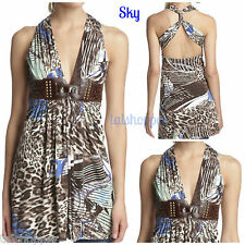 SKY BRAND Animal Print Fresia Studded Leather Belted Dress NWT $220 L Authentic
