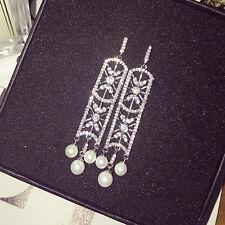 Boucles d`Oreilles Clou Argenté Rectangle Art Deco Perle Mariage Filigrane P1