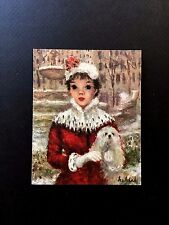 Unused Hallmark Xmas Greeting Card by Huldah ~ Pretty Young Lady in Red with Dog