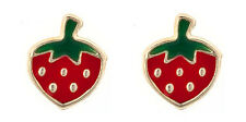 9ct gold enamel strawberry fruit stud / studs / earring / earrings. Gift box