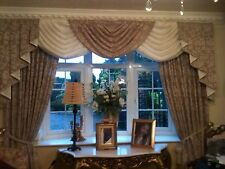 Designer Curtains Swags & Tails Latte/mink &ivory DAMASK Lined 7-8ft Window