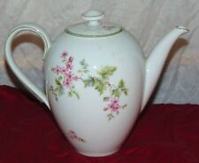 Hutschenreuther Selb Pink Flower Green Leaves 6 Cup Coffee Pot HUT2 NO 20 LH