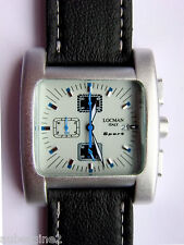 LOCMAN SPORT QUADRATO MEN'S CHRONO SILVER-WHITE-BLUE WATCH 428, NEW in BOX, $495