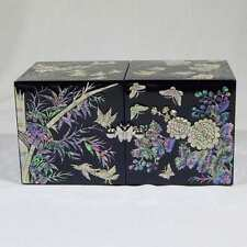 Korean Mother of Pearl Twin Cubic Wooden Jewelry Box with Four Noble Plants