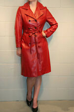 S DK RED LEATHER MOD VTG 70s DOUBLE BREASTED SPY GIRL BELTED TRENCH OUTWEAR COAT