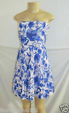 NWT H&M BLUE MULTI FLORAL PLEATED STRAPLESS CRUSH COLLECTION DRESS SIZE 14 US