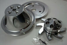 SB Chevy Polished Billet 1 Groove / Belt Short Water Pump Pulley Kit 283 327 350
