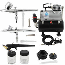 OPHIR 3-Airbrush Spray Gun Kit with Air Compressor for Temporary Tattoo Nail Art