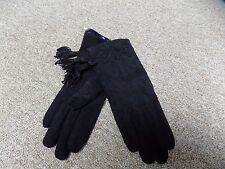 Vintage Black Suede Acrylic Knit Lined Wrist Gloves with Tassels Marshall's S