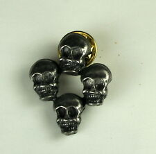 NEW Antinqued Silvertone or Pewter SKULL Lapel Hat Pin