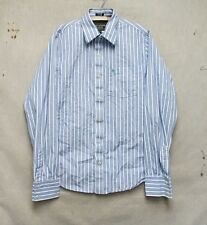Z7691 Men's Abercrombie & Fitch Blue and White Striped Long Sleeve Button Down-L