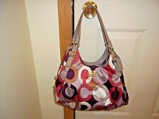 Authentic Coach Madison Cherry Graphic Op Art Sateen Maggie Purse 18764 Rare