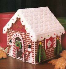 GINGERBREAD GOODIE HOUSE BOX CHRISTMAS PLASTIC CANVAS PATTERN INSTRUCTIONS