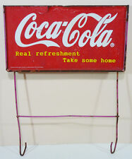 "Vintage COCA COLA DISPLAY SIGN (1960's) ""Real refreshment - Take some home"""