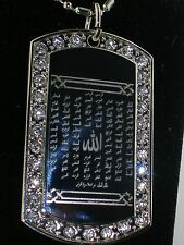 Allahs 99 Names Islamic CZ  TAG PENDANT NECKLACE with CHAIN