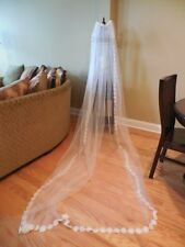 Vintage 60's 70's Floor Length WEDDING VEIL Oodles Of Pristine TULLE & Crochet