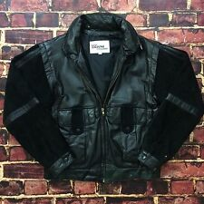 Vintage Wilsons Leather Jacket 38 M Medium Black Suede Leather Bomber Flight VTG