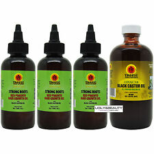 Tropic Isle Living Jamaican Strong Root 4 Oz Pack of 3 + Black Castor Oil 8 Oz