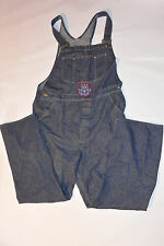 VINTAGE 1980s BLUE DENIM SEARS OVERALLS! BIB POCKET! OLYMPIC PATCH! COTTON 38x32