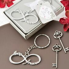 100 Infinity Love & Forever Silver Metal Key Chain Wedding Shower Gift Favors
